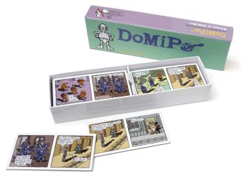 DoMiPo: um dominó para formar tiras. Por Anne Baraou e vários desenhistas.